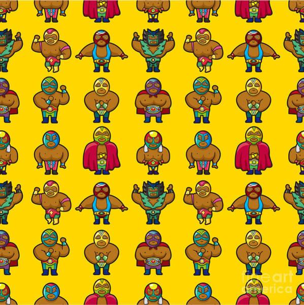 Guard Wall Art - Digital Art - Seamless Wrestler Pattern by Notkoo