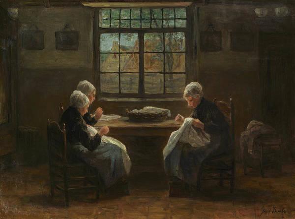 Israel Painting - Seamstress, 1880 by Josef Israels