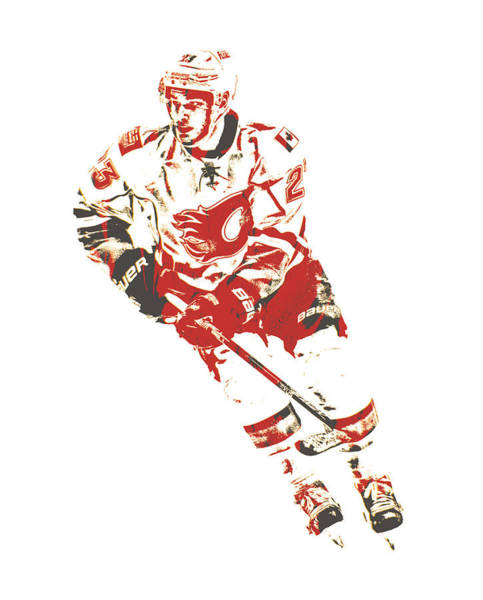 Wall Art - Mixed Media - Sean Monahan Calgary Flames Pixel Art 1 by Joe Hamilton