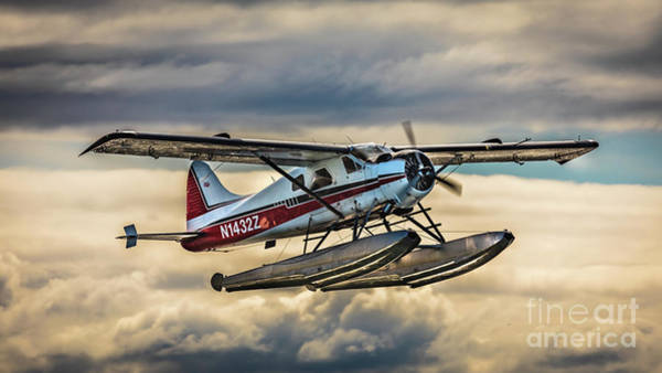 Photograph - Seaplane In The Anchorage Sky by Lyl Dil Creations