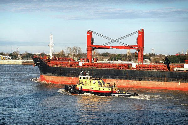 Photograph - Seas 1 Freighter 9589085 With Tug Escort On The Missippi by Bill Swartwout Photography