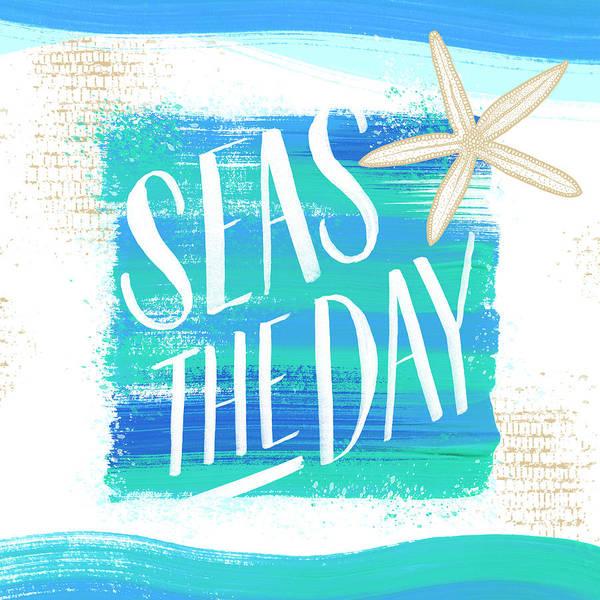 Painting - Seas The Day Starfish Coastal Art by Jen Montgomery