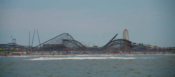 Photograph - Seascape At Wildwood - Roller Coaster by Bill Cannon