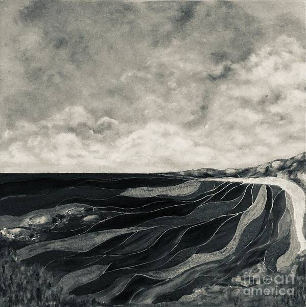 Wall Art - Painting - Seascape Black And White by Viktoria Ganhao