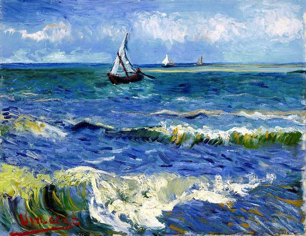 Wall Art - Painting - Seascape Near Les Saintes-maries-de-la-mer - Digital Remastered Edition by Vincent van Gogh