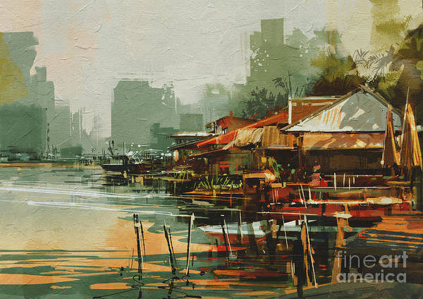 Scenery Digital Art - Seascape Painting Showing Old Fishing by Tithi Luadthong