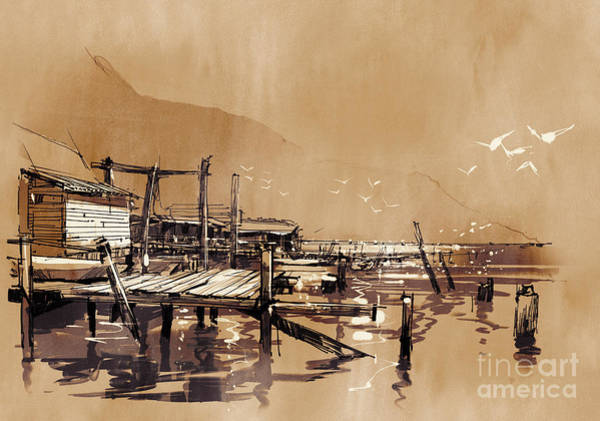 Wall Art - Digital Art - Seascape Painting Showing Pier Of by Tithi Luadthong