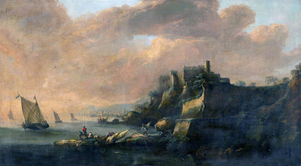 Painting - Seascape With A Castle by Artist anonymous