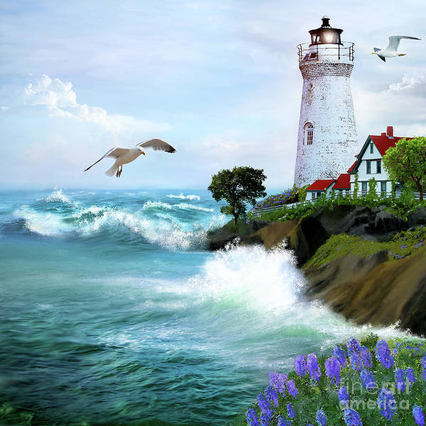 Seascape With Lighthouse Art Print