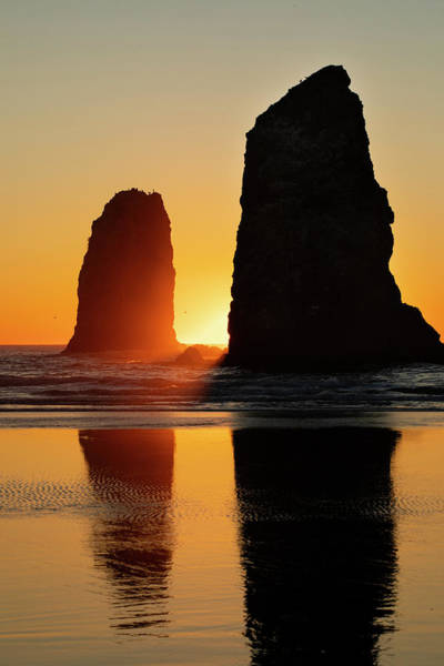 Wall Art - Photograph - Seascape With Rock Objects At Sunset by Panoramic Images