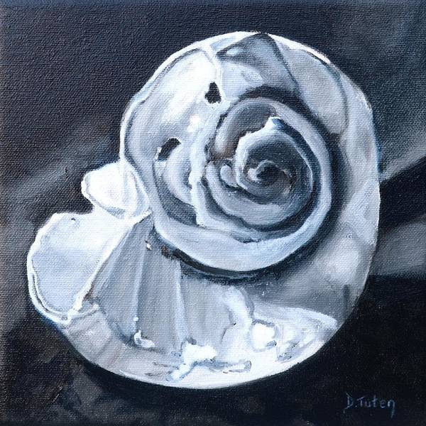 Painting - Seashell Painting In Black And White by Donna Tuten