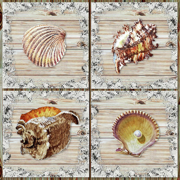 Beach Collage Painting - Seashells Beach House Rustic Chic Collection I by Irina Sztukowski