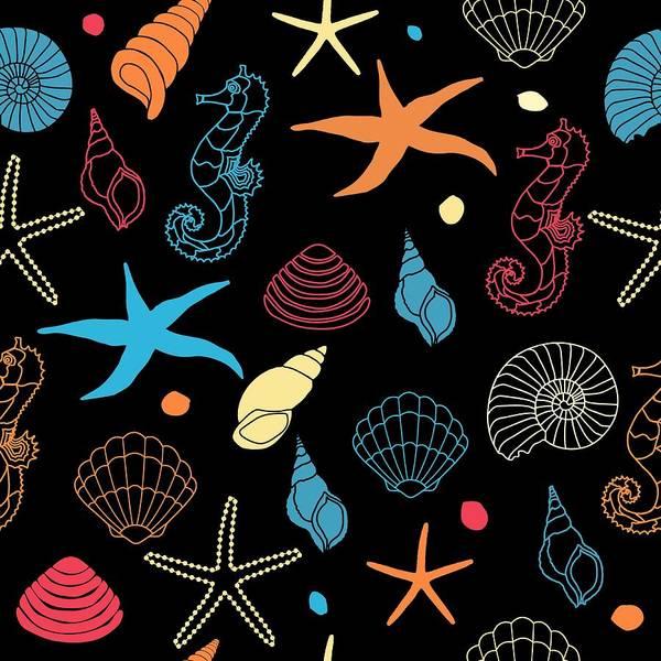 Painting - Seashells Seahorse And Starfish by Nautical Art
