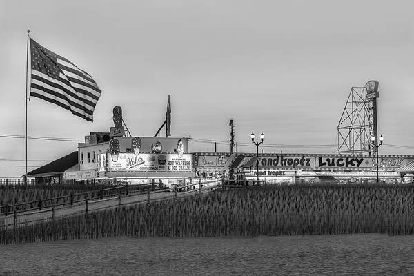 Photograph - Seaside Heights Boardwalk  Bw by Susan Candelario