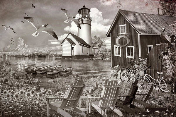 Photograph - Seaside Invitation At The Harbor In Sepia Tones by Debra and Dave Vanderlaan
