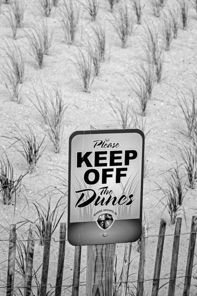 Photograph - Seaside Sand Dunes Sign Bw by Susan Candelario