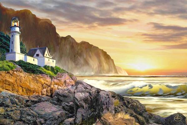 Wall Art - Painting - Seaside Sunset by Ron Chambers