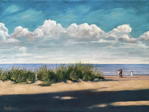Wall Art - Painting - Seaside Walk- Oil Painting by Linda Apple