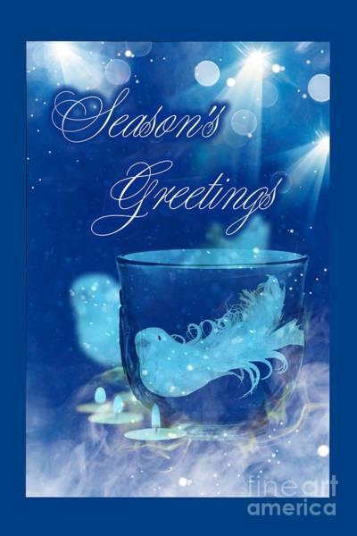 Mixed Media - Season's Greetings Blue With Bird by Rachel Hannah