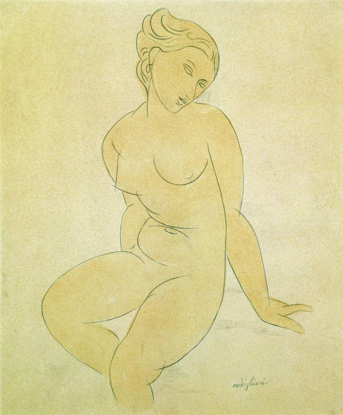 Wall Art - Painting - Seated Female Nude - Digital Remastered Edition by Amedeo Modigliani