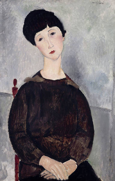 Wall Art - Painting - Seated Girl With Dark Hair, 1918 by Amedeo Modigliani