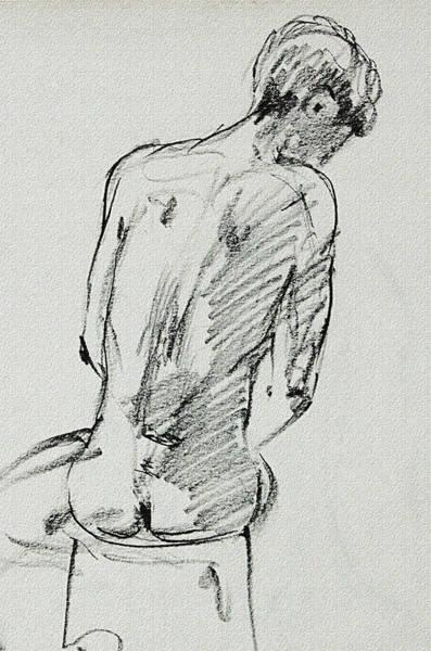 Wall Art - Drawing - Seated Male Model Study Gesture Xx by Irina Sztukowski