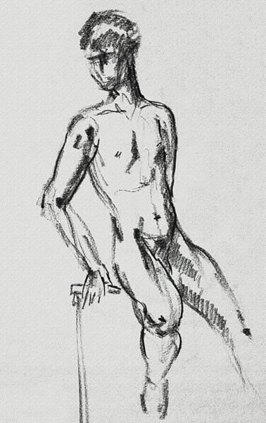 Wall Art - Drawing - Seated Male Model Study Gesture Xxi by Irina Sztukowski