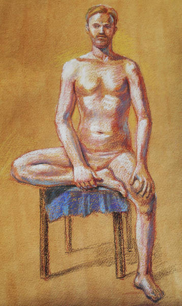 Pastel Drawing Painting - Seated Male Model Study In Pastel  by Irina Sztukowski