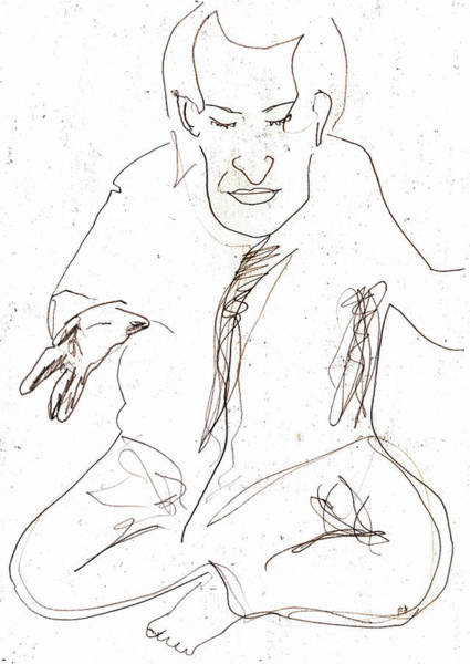 Drawing - Seated Man Drawing by Artist Dot
