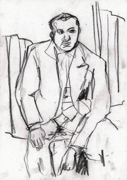 Drawing - Seated Man In A Suit by Artist Dot