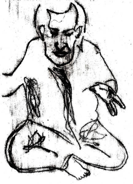 Drawing - Seated Man Portrait by Artist Dot