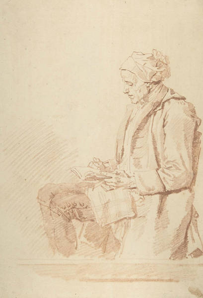 Drawing - Seated Man Reading by Jean-Honore Fragonard