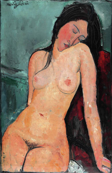 Wall Art - Painting - Seated Nude - Digital Remastered Edition by Amedeo Modigliani