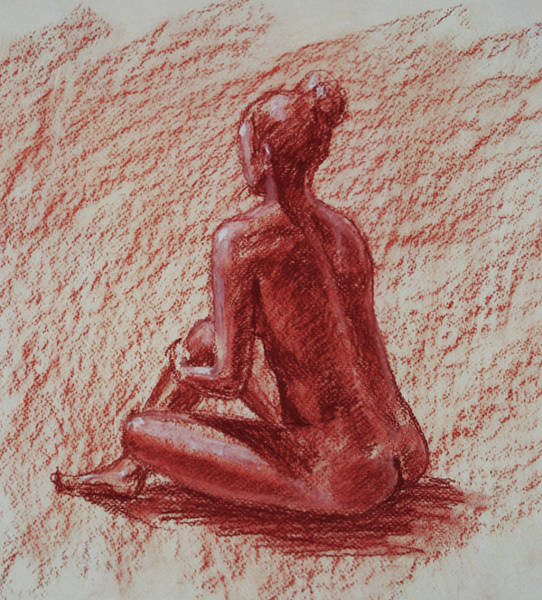 Crayon Drawing - Seated Nude In Sienna Conte Crayon  by Irina Sztukowski