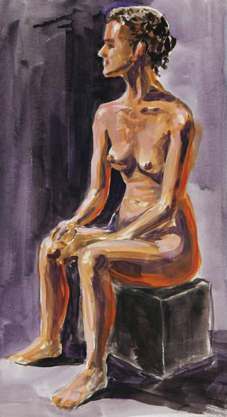Wall Art - Painting - Seated Nude Model Study In Gouache by Irina Sztukowski