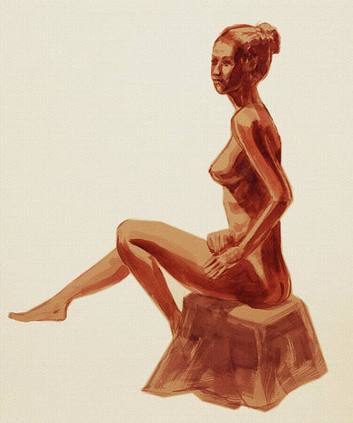 Wall Art - Painting - Seated Nude Model Study Sienna Brown by Irina Sztukowski
