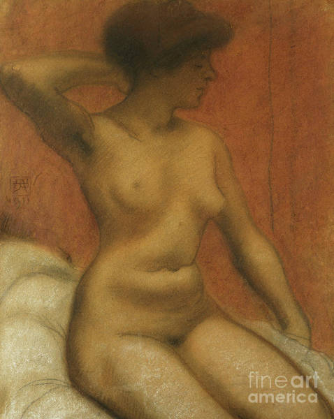 Wall Art - Pastel - Seated Nude, Nu Assis, 1911 by Armand Rassenfosse