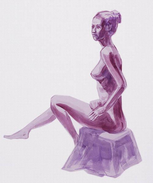 Wall Art - Painting - Seated Nude Woman Model In Purple by Irina Sztukowski
