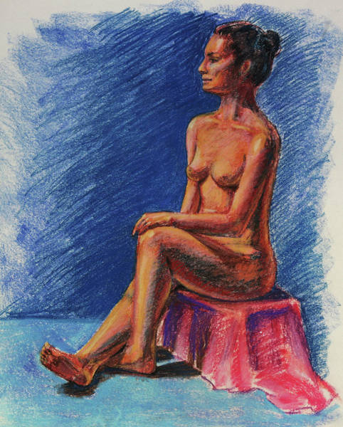 Wall Art - Painting - Seated Nude Woman Study Pastel  by Irina Sztukowski