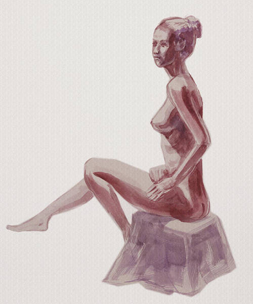 Wall Art - Painting - Seated Nude Woman Watercolor by Irina Sztukowski