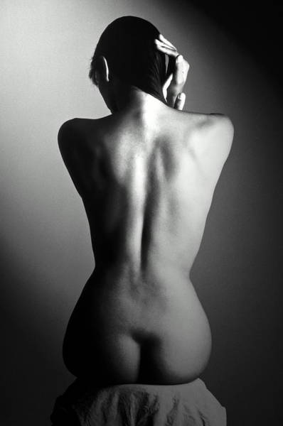 Buttocks Photograph - Seated Nude Womans Back by Yuri Dojc