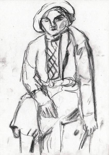 Drawing - Seated Woman In A Hat by Artist Dot
