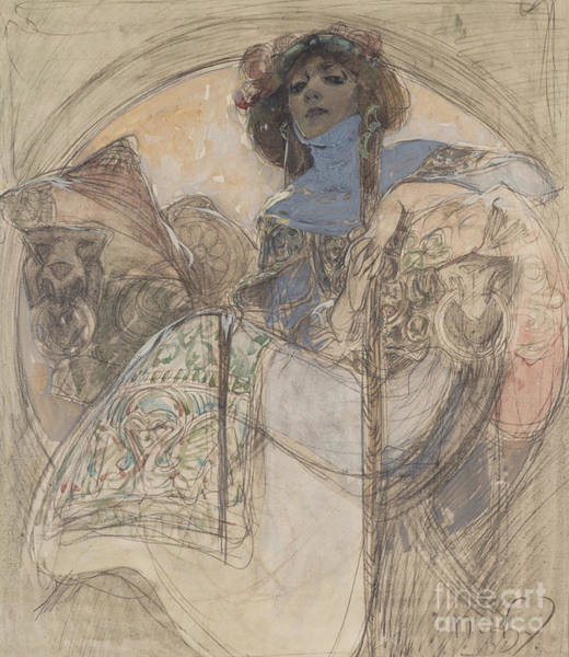 Wall Art - Painting - Seated Woman  Study For A Poster, 1897 by Alphonse Marie Mucha