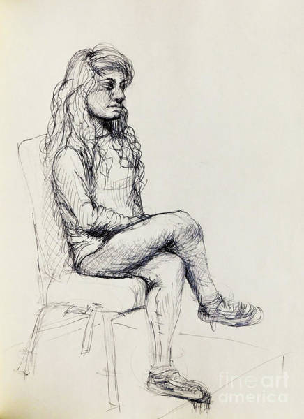 Pump Drawing - Seated Woman by Vanessa Hadady BFA MA