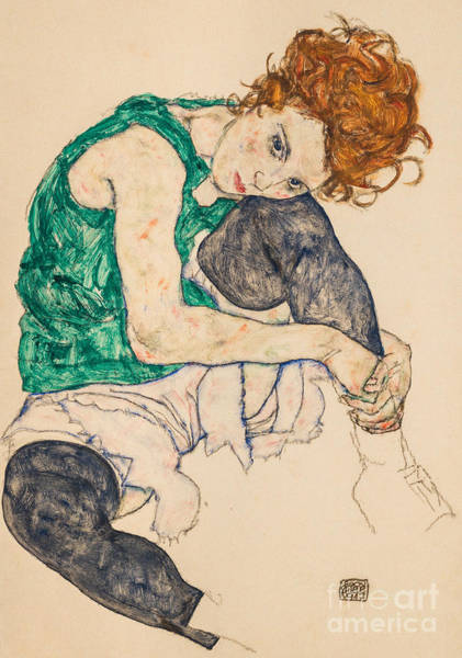 Wall Art - Painting - Seated Woman With Bent Knees, 1917 By Egon Schiele by Egon Schiele
