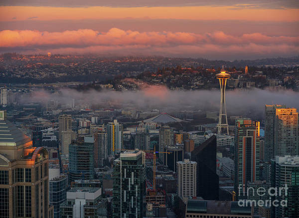 Wall Art - Photograph - Seattle At Dawn Golden Sunrise by Mike Reid