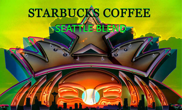 Wall Art - Mixed Media - Seattle Blend Starbucks Coffee Label Art by David Lee Thompson