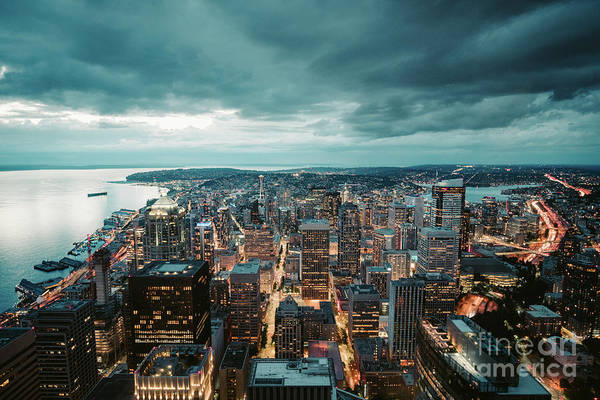 Wall Art - Photograph - Seattle Blue Hour by JR Photography