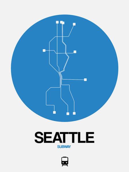 Subway Map Wall Art - Digital Art - Seattle Blue Subway Map by Naxart Studio