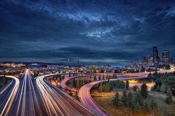 Seattle City Lights And Light Trails At Art Print